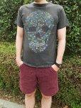 画像2: 【TELOVIN】◆FLOWER SKULL◆クルーTシャツ (2)